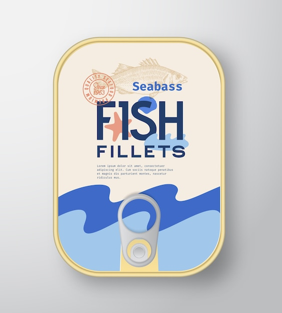 Fish fillets aluminium container with label cover. Free Vector