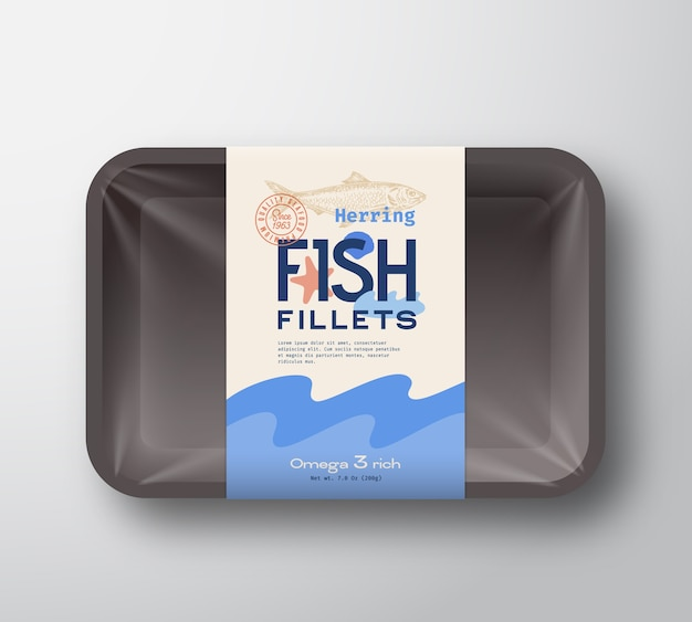Fish fillets pack. abstract  fish plastic tray container with cellophane cover. packaging  label. Premium Vector