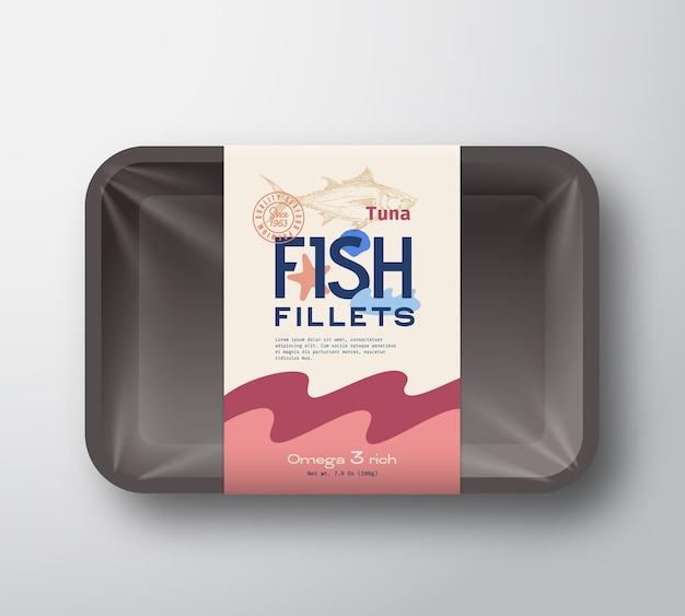 Fish fillets pack. abstract  fish plastic tray container with cellophane cover. packaging  label. Free Vector