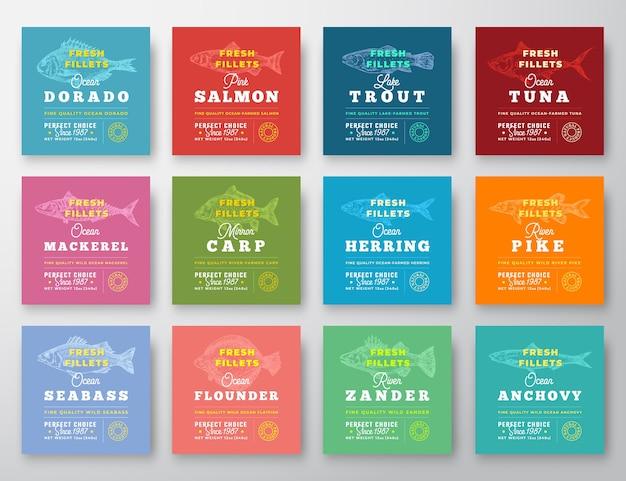 魚の切り身プレミアム品質の12ラベルセット。 無料ベクター