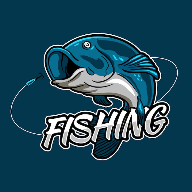 釣りトーナメントイベントと漁師クラブバッジロゴデザインの餌フックのジャンプ魚 Premiumベクター