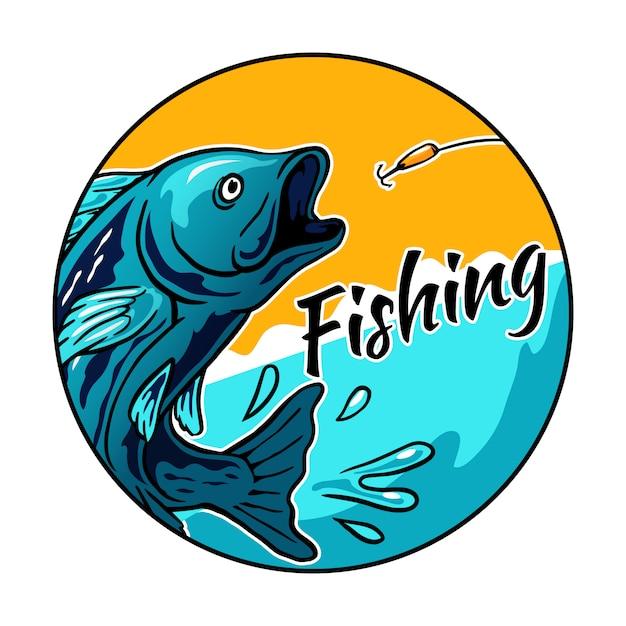 釣りトーナメントイベントバッジロゴの餌フックベクトルイラストのジャンプ魚 Premiumベクター