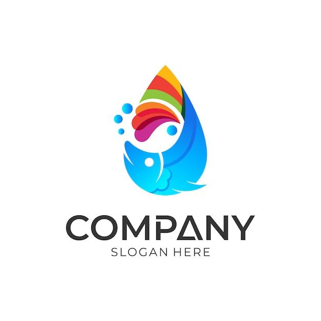 Fish logo design template Premium Vector