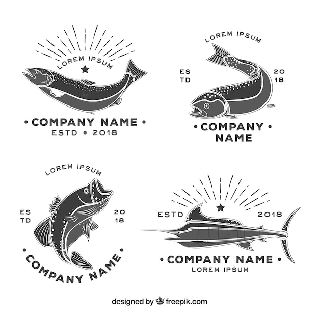 Fish logos collection in black and white Free Vector