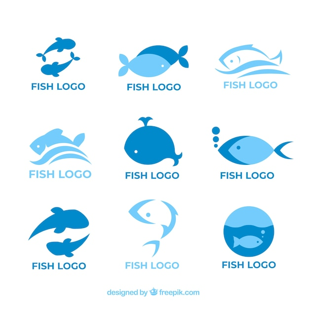 Fish logos collection for companies branding Premium Vector
