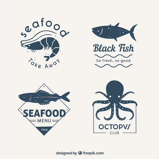 Fish logos collection for companies branding Free Vector
