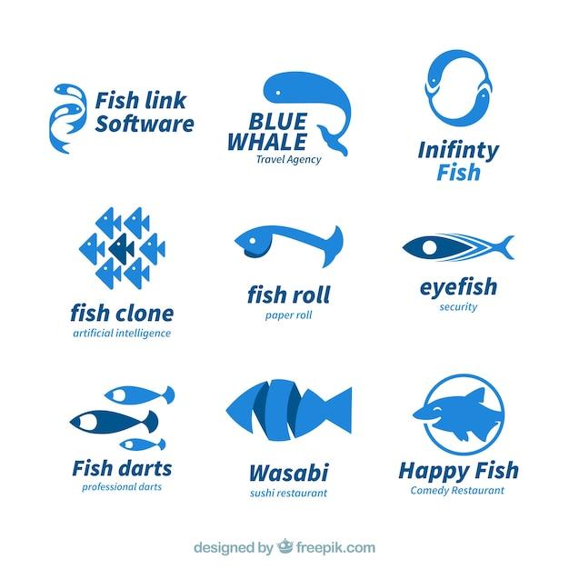 Fish logos collection for companies branding Premium Vector