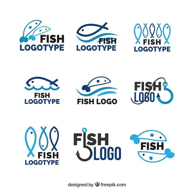 ブランドブランディングのためのフィッシュロゴコレクション Premiumベクター