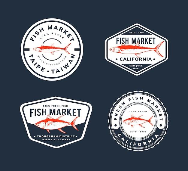 バッジ、ロゴ、魚市場のテンプレートデザイン Premiumベクター