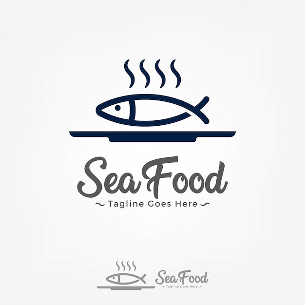 Fish on a plate logo design vector template. Premium Vector
