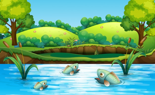 Fish in the pond Free Vector