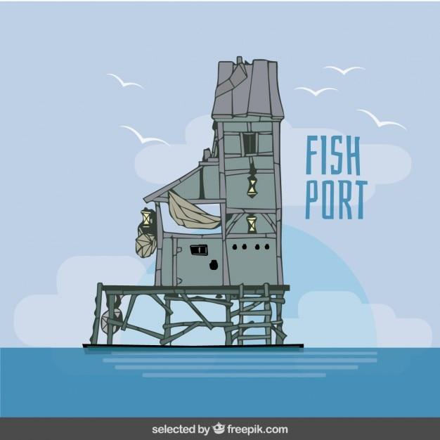 Fish port illustration Free Vector