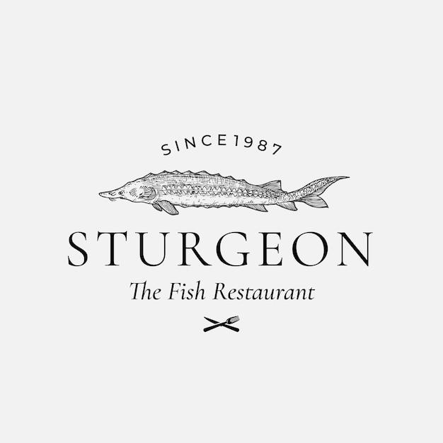 Segno di vettore astratto di pesce ristorante, simbolo o modello di logo Vettore gratuito
