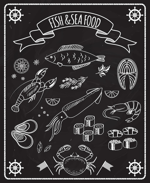Fish and seafood blackboard vector elements with white line drawings of fish  ships wheels  calamari  lobster  crab  sushi  shrimp  prawn  mussel  salmon steak in a frame with a ribbon banner Free Vector