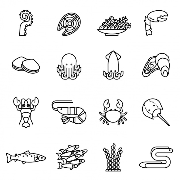 Fish and seafood line icons set with white background. Premium Vector