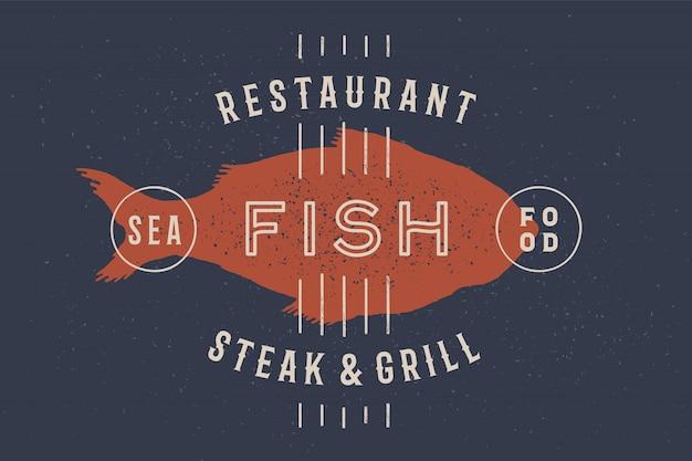 Fish, seafood. vintage logo Premium Vector