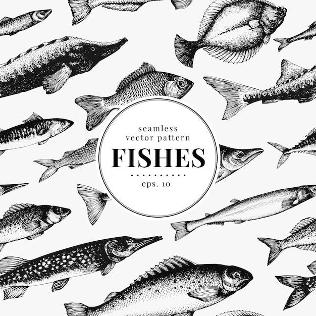 Fish seamless vector pattern. Premium Vector