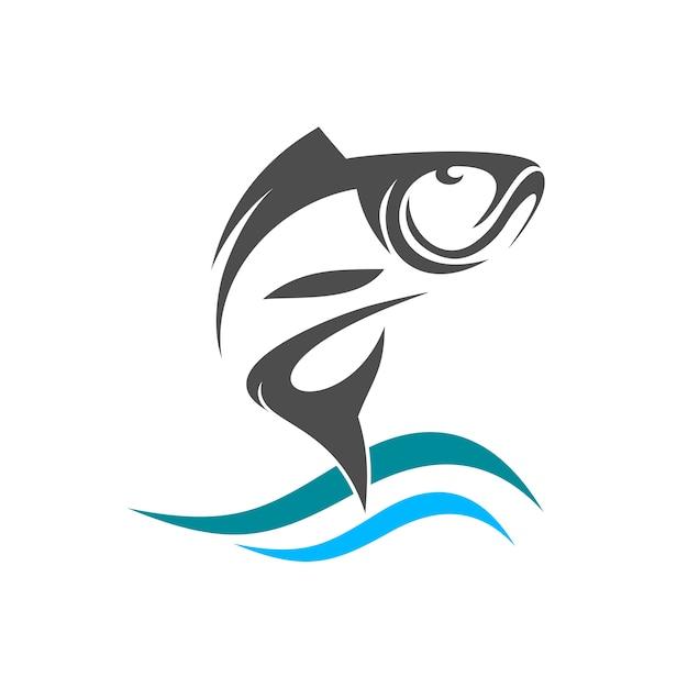Fish silhouette jump from water logo Premium Vector