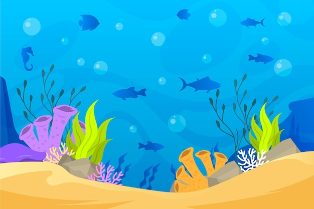 Fish silhouettes background for online video conferencing Premium Vector