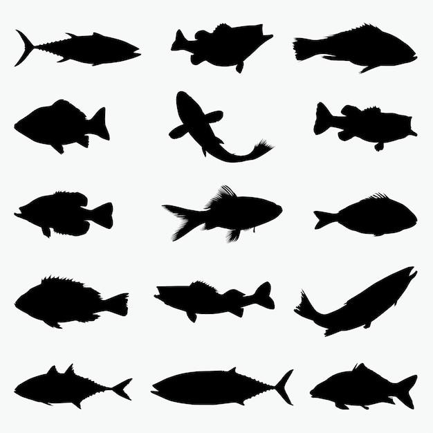 Fish silhouettes Premium Vector