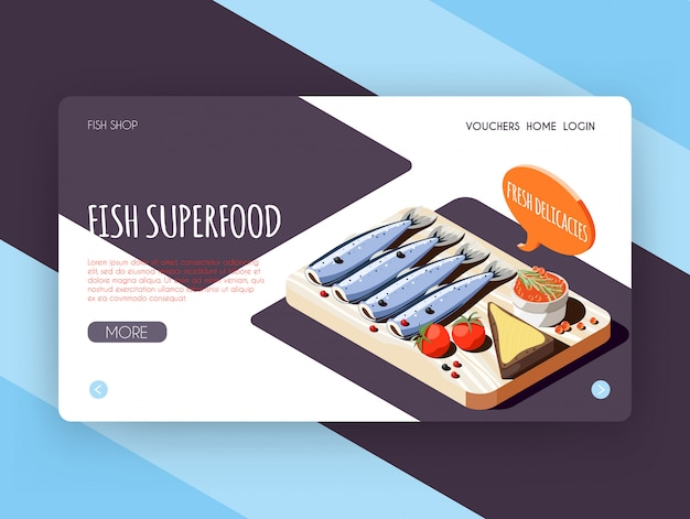Fish superfood banner for online shop advertising with fresh delicacies isometric vector illustration Free Vector