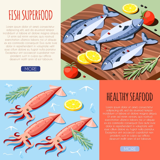 Fish superfood and healthy seafood horizontal banners with fresh fish and calamari isometric  vector illustration Free Vector