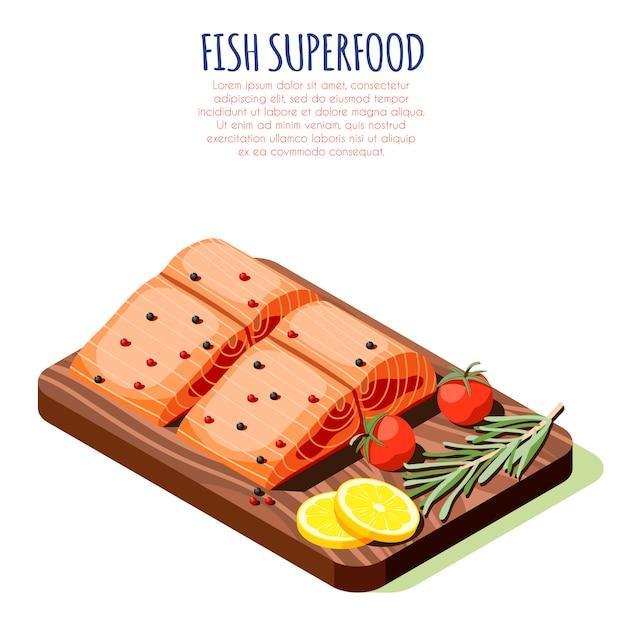 木製カッティングボードベクトル図に新鮮な生サーモンフィレと魚スーパーフード等尺性デザインコンセプト 無料ベクター