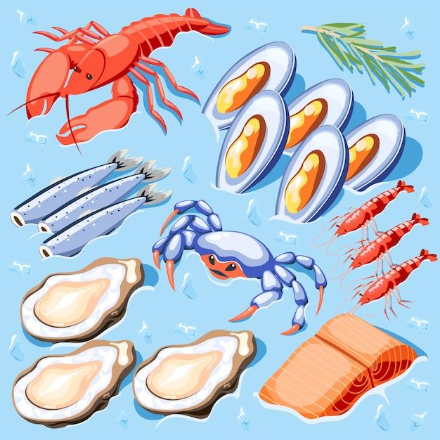 ムール貝ザリガニカニエビカキロブスターと魚スーパーフード等尺性イラスト 無料ベクター