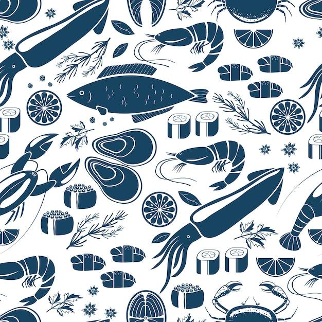 魚の寿司とシーフードのシームレスな背景パターンイカの青と白のベクトルアイコンロブスターカニ寿司エビエビムール貝サーモンステーキレモンとハーブのプリントまたはテキスタイル 無料ベクター