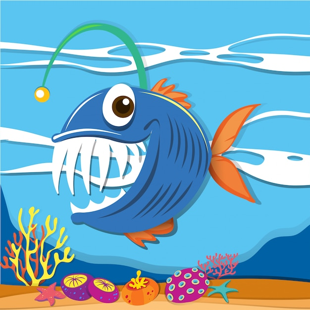 Fish swimming under the sea Free Vector