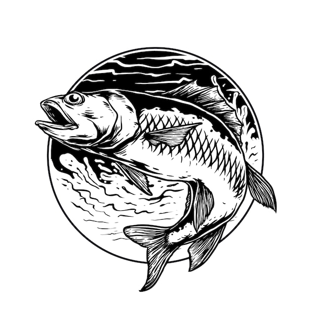Fish in the wave for fishing club logo badge Premium Vector