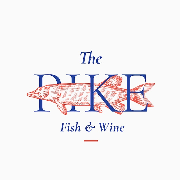 Fish and wine abstract sign, symbol or logo template. hand drawn pike fish with classy retro typography. premium quality vintage emblem. isolated. Premium Vector