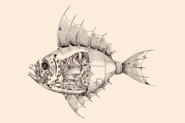 Fish with a metal body on mechanical control in steampunk style. Premium Vector