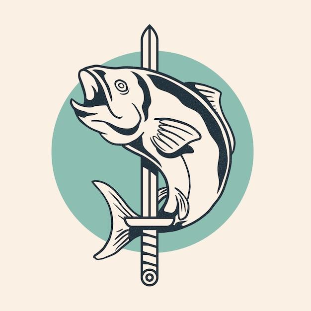 魚は剣ヴィンテージレトロなロゴデザインベクトル図を包んだ。 Premiumベクター