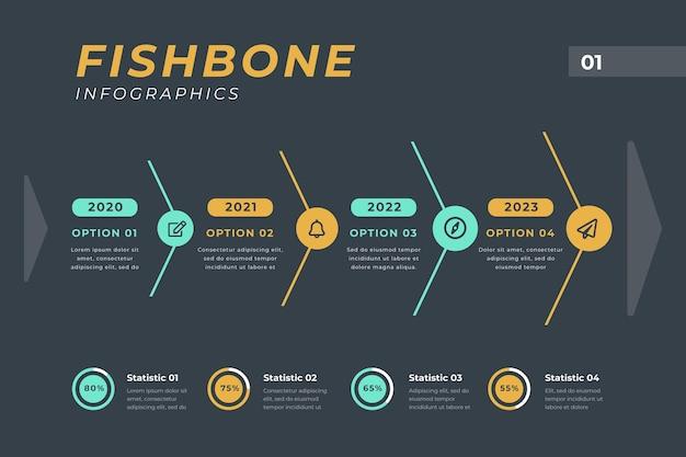 Шаблон инфографики fishbone Бесплатные векторы