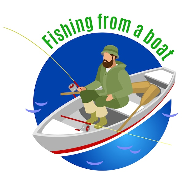 Fisher in protective clothing during fishing from boat on blue round Free Vector