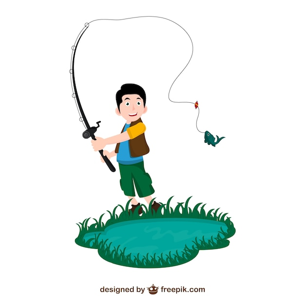 Fisherman cartoon Free Vector