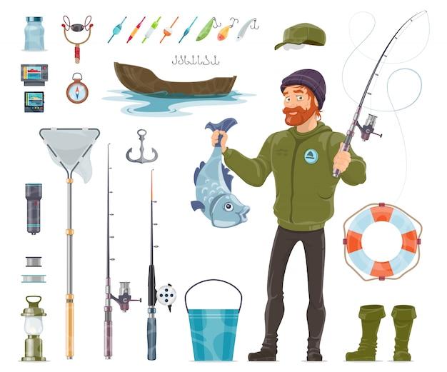 Набор элементов рыбака Бесплатные векторы