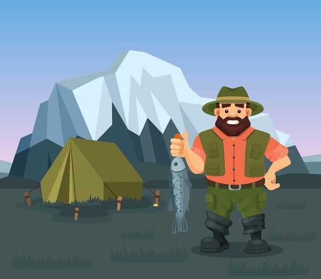 Удерживание рыболова иллюстрации уловленное рыбами. рыбалка в диком природном ландшафте, снежные горы, палатка. Premium векторы