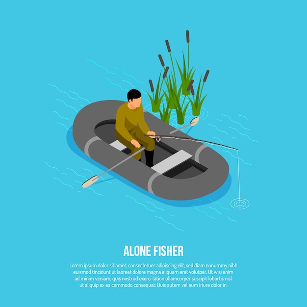 Fisherman with tackle during catching in rubber boat near reeds on blue  isometric Free Vector