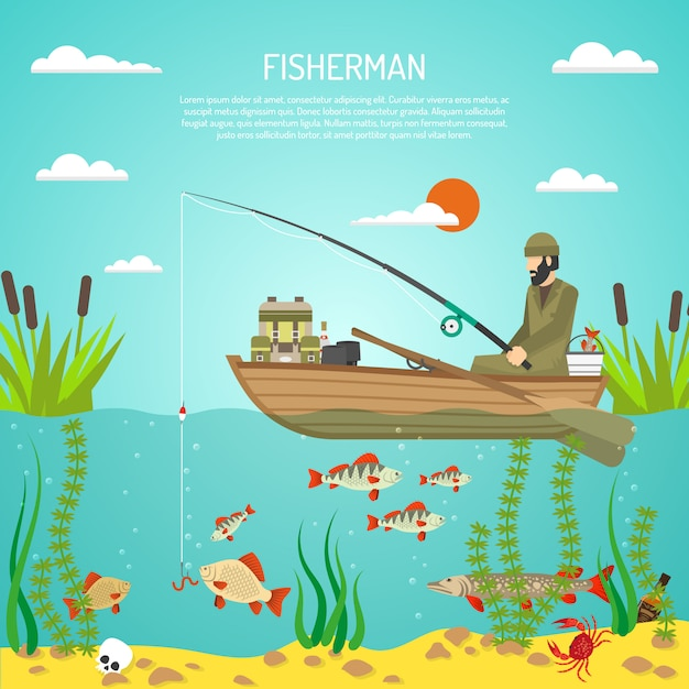 Fisherman Free Vector