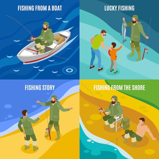 Fishermen during communion and with haul isometric concept catching from boat and at shore isolated Free Vector
