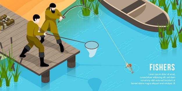 Fishers on wooden pier with tackles during fish catching isometric horizontal Free Vector