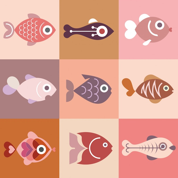 Fishes collection Premium Vector