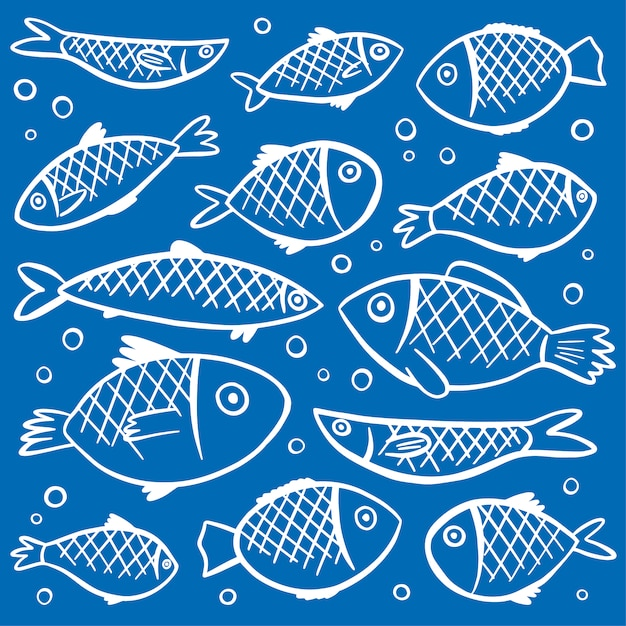 Fishes pattern background Free Vector