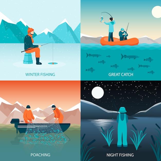 Рыбалка 2x2 концепция дизайна Бесплатные векторы