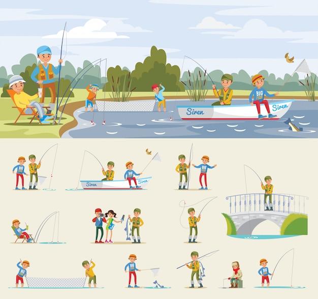 Fishing activity concept Free Vector