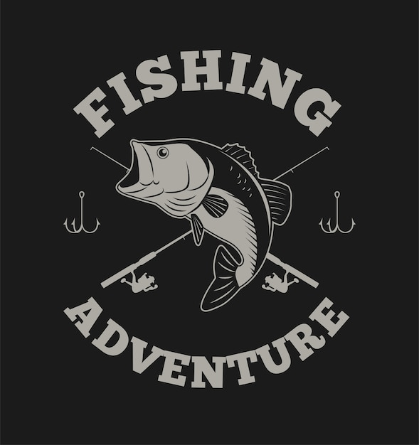 Fishing adventure with bass fish and fishing rod Premium Vector