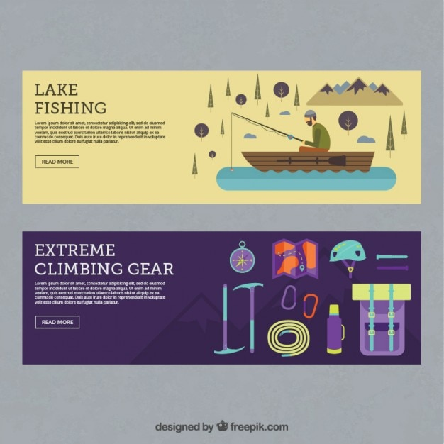 Fishing and adventure accessories\ banners