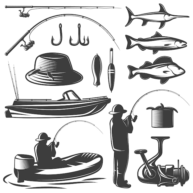 Fishing black isolated set with equipment of fisherman and his catch Premium Vector